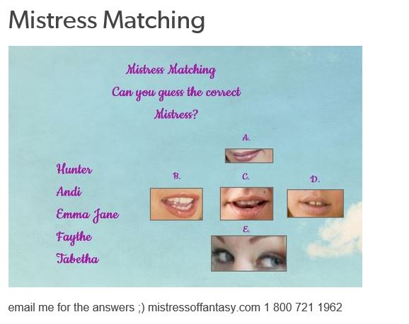 Mistress Matching