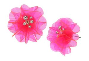 BEACH PARTY FLOWER BUTTON EARRINGS PINK