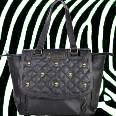 Loungefly Black Quilted Skull Studs Bag