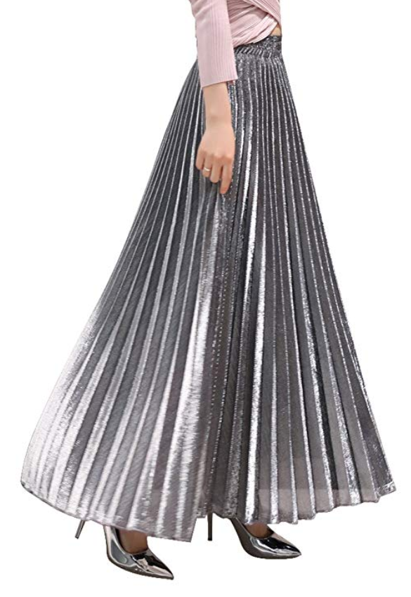 Chartou Women's Premium Metallic Shiny Shimmer Accordion Pleated Long Maxi Skirt